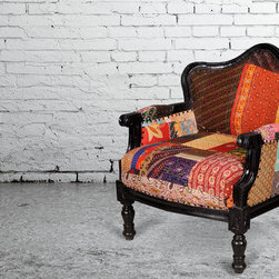 "Federal Mango Wood & Patch Quilt Upholstered Overstuffed Arm Chair - Dimensions: 30"" L X 30"" D X 35.5"" H"