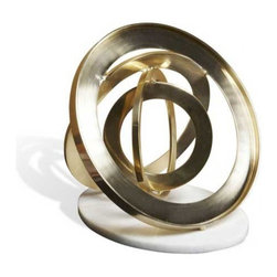 Interlude Home - Interlude Home Pozza Brass Rings - These Interlude Home Brass Rings  are crafted from Brass and Marble and finished in Brushed Brass and White.  Overall size is:  12 in. W x  12 in. D x 9 in. H.