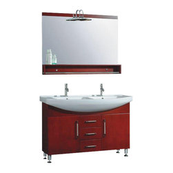 """The Tub connection - 48 Inch Red Cherry Wood & Porcelain Counter Top with 2 Basin Sinks- """"Douglas"""" - The perfect focal point for the bathroom, this contemporary double sink vanity is a space saver for the bathroom.   The double sink cabinet is solid oak wood and has a red cherry finish.  The white porcelain double sink allows two to perform the daily cleaning without interrupting one another.  Two sinks means two faucets, supply lines, p traps and drains.   Faucets come in chrome or brushed nickel.  The set includes a lovely mirror to be placed over the vanity cabinet.  Soft close hinges on the three drawers make for quiet closings.  Vanity Finish As Shown- Red Cherry"""
