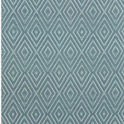 "Dash and Albert Rugs - Woven Diamond Slate/Light Blue Rug - A rug for all seasons. Made of superheroic polypropylene, our indoor/outdoor area rugs are terrific for high-traffic areas and muddy messes. Scrubbable, bleachable and UV-treated for outdoor use, this collection of woven rugs can stand up to all that you dish out. To ensure safety and prevent slipping, we recommend you use a rug pad with all rugs, regardless of the type of flooring they are used on. Regular vacuuming and the occasional gentle shake should keep your rug in shipshape condition. All polypropylene area rugs are hoseable, scrubbable, and bleachable. Air dry only. Do not machine wash or tumble dry. Features: -Material: Polypropylene.-Scrub off dirt.-Fade resistant.-Moth and mildew resistant.-Easy care.-Indoor / Outdoor.-UV-treated.-Rug pad recommended.-Collection: Woven.-Distressed: No.-Construction: Handmade.-Technique: Hand woven.-Primary Pattern: Geometric.-Primary Color: Blue.-Material: 100% Polypropylene.-Fringe: No.-Reversible: No.-Rug Pad Needed: Yes.-Mildew Resistant: Yes.-Stain Resistant: Yes.-Fade Resistant: Yes.-Swatch Available: No.-Eco-Friendly: No.-Recycled Content: 0%.-Outdoor Use: Yes.-Product Care: Hoseable, scrubbable, bleachable. Line dry. Do not machine was or tumble dry..Specifications: -CRI certified: No.-Goodweave certified: No.Dimensions: -Pile Height: 0.25"".-Overall Product Weight (Rug Size: 2' x 3'): 2 lbs.-Overall Product Weight (Rug Size: 3' x 5'): 4 lbs.-Overall Product Weight (Rug Size: 4' x 6'): 6 lbs.-Overall Product Weight (Rug Size: 6' x 9'): 12 lbs.-Overall Product Weight (Rug Size: 8'6"" x 11'): 26 lbs.-Overall Product Weight (Rug Size: Runner 2'6"" x 8'): 4 lbs."
