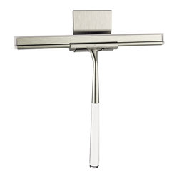Better Living Products - LINEA Luxury Shower Squeegee Brushed Nickel/Stainless Steel - The LINEA Luxury Shower Squeegee is ergonomically designed, and includes its own stainless steel suction hook. The well-balanced, elongated handle allows you to reach the top of shower glass doors with little effort.