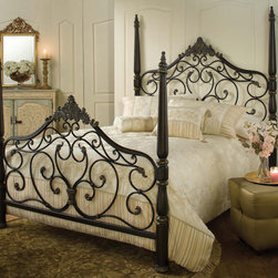 Hillsdale Furniture - Hillsdale Parkwood Poster Bed Queen - Hillsdale Furniture's Parkwood bed is the definition of traditional elegance. A classic four poster design, this bed features graceful arched lines, intricate castings, sculpted finials and flowing scrollwork. Constructed from heavy gauge fully welded tubular steel, the Parkwood bed boasts a dynamic black gold finish. - 1450BQR.  Product features: Belongs to Parkwood Collection; Available in Queen, King Size; Poster Bed Type; Finished in Black Gold; Made of Wood and Metal. Product includes: Bed Grills (1); Bed Posts (1); Side Rails (1). Parkwood Poster Bed is a part of Parkwood Collection by Hillsdale.