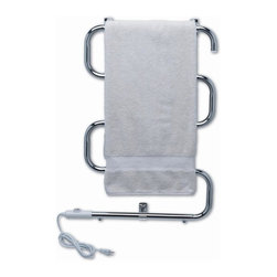 Warmrails - Warmrails Heatra Classic Dual Towel Warmer (Satin Nickel) - Finish: Satin NickelIncludes all hardware and instructions. Dual installation has either portable free standing or wall mount. Plugs into standard electrical outlet. Illuminated On/Off switch. 7 ft. power cord, entry on left or right side. Filatherm dry element, less than 75 watt rating, 120v AC. UL and cUL listed. Minimal assembly required. Wall Mount: 24 in. W x 3.75 in. D x 31.5 in. H. Free Standing: 24 in. W x 10.5 in. D x 37.75 in. H. Instruction Manual