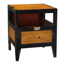French Heritage - Draper's End Table - Don't let its seeming simplicity fool you—this is an end table with unsuspected depth: dual storage options , contrasting and complementary finishes, the old-world charm of a brass label holder, and the sturdy utility of a time-proven classic.