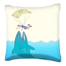 Custom Photo Factory - Money Shark Pillow.  Polyester Velour Throw Pillow - Money Shark Pillow. 18 Inches x 18  Inches.  Made in Los Angeles, CA, Set includes: One (1) pillow. Pattern: Full color dye sublimation art print. Cover closure: Concealed zipper. Cover materials: 100-percent polyester velour. Fill materials: Non-allergenic 100-percent polyester. Pillow shape: Square. Dimensions: 18.45 inches wide x 18.45 inches long. Care instructions: Machine washable