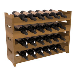 Wine Racks America - 24 Bottle Mini Scalloped Wine Rack in Redwood, Oak Stain + Satin Finish - Stack four 6 bottle racks with pressure-fit joints for proper storage of 24 wine bottles. This rack requires no hardware for assembly and is ready to use as soon as it arrives. Makes the perfect gift and stores wine on any flat surface.