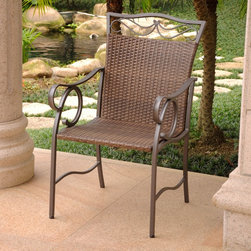 International Caravan - International Caravan Valencia Resin Wicker/ Steel Dining Chairs (Set of 2) - Spruce up your outdoor space with these resin wicker chairs. The earthy tones and stylish steel frames of these chairs make them versatile pieces for mixing and matching with your decor. Built tough,these chairs are UV and weather resistant.