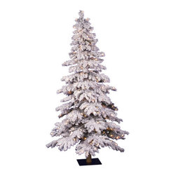 Vickerman - Flocked Spruce Alpine 6' Artificial Christmas Tree with Clear Lights - Features: -Artificial Christmas tree. -Flocked Spruce Alpine collection. -300 Clear Dura-Lit mini lights. -722 Tips. -Metal stand. -Manufacturer provides 1 year seasonal warranty.