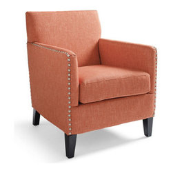 Grandin Road - Barrows Chair - Cozy reading chair with clean lines and a well-cushioned seat. Fabric upholstery with nailhead trim. Simply assembly to attach the dark wood legs. Create an instant sanctuary with our Barrows Chair. Its deep, comfortable seat makes a soft and happy reading spot, while the angular silhouette always looks tidy. Handsome fabric upholstery with nailhead trim.  .  .  .