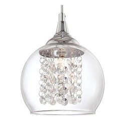 "Encircled Crystal 6"" Wide Halogen Mini Pendant"