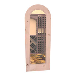 """CellarSelect™ Wine Cellar Door: Cabernet Full Lite (Natural with Lacquer) - Standard 30"""" x 80"""" arched glass cellar door is sure to impress. Handcrafted knotty alder doors feature a full radius arch with matching casings, sollid 1 3/4"""" construction and stunning stain and lacquer options to match your wine cellar racking."""