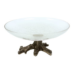 Rojo16 - Crackle Etched Glass Bowl - With an aluminum base designed to look like a large old tree, this crackle etched glass bowl makes a one of a kind centerpiece for your dining room table or console table. Fill it with floating candles or highlight the tree theme with decorative moss balls.