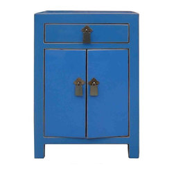 "Golden Lotus - Rustic Blue Lacquer Solid Wood End Table  Night Stand - Dimensions:  15.5"" x 12"" x h23"""