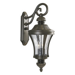 Progress Lighting - Progress Lighting P5837-77 Nottington Two-Light Top-Mount Large Outdoor Wall - Old world styling is exemplified with his renaissance inspired three light wall sconce from the Nottington collection. A sleek and classic lantern with water glass panels is supported by a delicate scrollwork support arm.  The fixture is designed to operate outdoors and covers a standard outlet box for long lasting and reliable function.Features:
