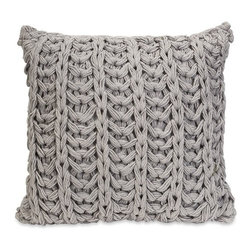 """IMAX - Hadley Grey Crochet Pillow - Inspired by your favorite chunky knit sweater, the Hadley grey crochet pillow adds a soft touch to any decor. Item Dimensions: (18""""h x 18""""w x 6.5"""")"""