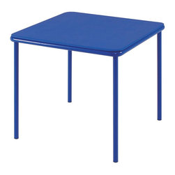 Cosco Office - Kids Vinyl Top Table - Multi-functional. Ideal for art and crafts project, tea parties and birthday. Easy to store and clean. Safe - screw in leg. Great for snack, craft, game and more. Low maintenance. Strong and durable steel frame with powder coated finish. Warranty: One year. Blue color. Minimal assembly required. 24 in. W x 24 in. D x 21.5 in. H (10.1 lbs.)