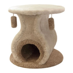"Majestic Pet Products - 21"" Kitty Cat Hacienda - Covered in designer carpet, this luxury cat condo is worthy of display in your bedroom or living room. Two cat toys will keep your cat entertained for hours, and the cat nest on the top level is a safe napping spot or perch.  Easy for humans to assemble."