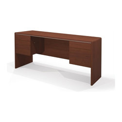 Bestar - Bestar Fall Creek Credenza in Bordeaux - Bestar - Computer Desks - 476101139 - Sleek design beautifully crafted with silver accents and a warm Bordeaux cherry finish. The soft forming adds elegance and distinction to all elements in the collection.