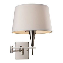 """Elk Lighting - Elk Lighting Transitional Swing Arm Wall Lamp X-1/80101 - Do you want to add a touch of elegance to your bedroom? If so then this Transitional Swing Arm Wall Lamp by Elk Lighting is just for you. With its sleek and modern feel, this design has a chrome type of finish with a nicely complemented shade. Measuring in at 16"""" tall, this design includes (1) 150W incandescent light fitting and a medium base that has a 3 way switch, satisfying your every lighting need."""