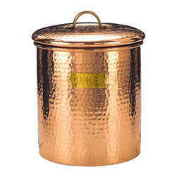 Old Dutch - 6.75 x 7.5 Decor Copper Hammered Cookie Jar 4-Quart - Keep your delectable delights fresh and your kitchen counter looking fresher with this 4-quart hammered copper cookie jar. With its fresh seal cover and beautiful brass detail, this large cookie jar is the perfect countertop accessory, and a magnificent vessel for deliciously fresh baked goods.