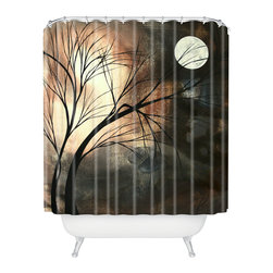 DENY Designs - madart inc Lost Moon Shower Curtain - Who says bathrooms can't be fun? To get the most bang for your buck, start with an artistic, inventive shower curtain. We've got endless options that will really make your bathroom pop. Heck, your guests may start spending a little extra time in there because of it!