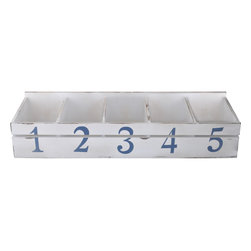Enchante Accessories Inc - Distressed Wooden Organizer with Numbered Bins - 5 numbered binsVintage look distressed finishgreat for sorting mail and other projectsmade of solid woodMeasures 29.88 in. x 5.88 in. x 7.88 in.Desktop Sorter Bins with numbers