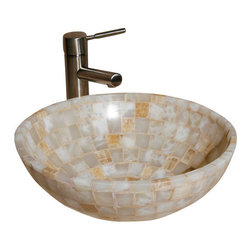 """The Allstone Group - L-VMR-SS-16WS Polished #6 Vessel Sink - Natural stone strikes a balance between beauty and function. Each design is hand-hewn from 100% natural stone.  Allstone mosaic vessel sinks are our only product that is not carved from one single piece of stone.  Onyx was used in Egypt as early as the Second Dynasty to make bowls and other pottery items. Onyx is also mentioned in the Bible at various points, such as in Genesis 2:12 """"and the gold of that land is good: there is bdellium and the onyx stone"""", and such as the priests' garments and the foundation of the city of Heaven in Revelation."""