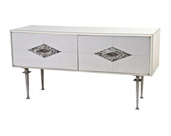 Pre-owned Paul Laszlo White Mid-Century Console - We'll gladly engage in a staring contest with this vintage Paul Laszlo console from 1960. Made in the USA and brought to you by SF Designer Will Wick. It features white laminate, an aluminum frame and two diamond shaped inlaid details around the hardware. It sits upon metal legs. The cabinet features two doors concealing six adjustable shelves.