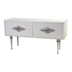 Paul Laszlo - Pre-owned Paul Laszlo White Mid-Century Console - We'll gladly engage in a staring contest with this vintage Paul Laszlo console from 1960. Made in the USA and brought to you by SF Designer Will Wick. It features white laminate, an aluminum frame and two diamond shaped inlaid details around the hardware. It sits upon metal legs. The cabinet features two doors concealing six adjustable shelves.