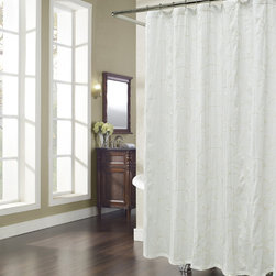 None - Vinery Embroidered Natural Shower Curtain - Finish your bathroom with style when you hang this white embroidered shower curtain. With 12 button holes for easy hanging,this curtain has an embroidered crewelwork leaf pattern. It is made of 100 percent polyester for easy maintenance.