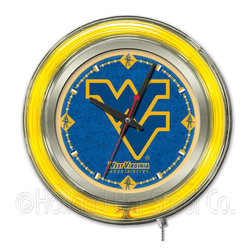 Holland Bar Stool - Holland Bar Stool Clk15WestVA West Virginia Neon Clock - Clk15WestVA West Virginia Neon Clock belongs to College Collection by Holland Bar Stool Our neon-accented Logo Clocks are the perfect way to show your school pride. Chrome casing and a team specific neon ring accent a custom printed clock face, lit up by an brilliant white, inner neon ring. Neon ring is easily turned on and off with a pull chain on the bottom of the clock, saving you the hassle of plugging it in and unplugging it. Accurate quartz movement is powered by a single, AA battery (not included). Whether purchasing as a gift for a recent grad, sports superfan, or for yourself, you can take satisfaction knowing you're buying a clock that is proudly made by the Holland Bar Stool Company, Holland, MI. Clock (1)