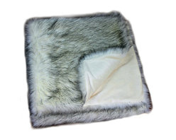 Fur Accents - Luxurious Alaskan Wolf Faux Fur, Throw Blanket, Bed Spread, 8x10 - A Truly Original Wilderness Theme Faux Fur Throw Blanket / Bedspread / Comforter. Thick, Russian Wolf Pelt Bedding. Gray and black tips on thick White Fur. Unique and Exclusive Design. Made from 100% Animal Free and Eco Friendly Fibers. Perfect for that special place in your home. Focal Point Design. So comfortable and elegant. Supple Fur tastefully lined with silky soft cuddle fur lining. Luxury, Quality and Unique Style suitable for the most discriminating Designer / Decorator.