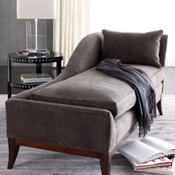 """Swag"" Velvet Chaise - Sink into this luxurious ""Swag"" Velvet Chaise and relax and unwind.  You may never want to get up!  Upholstered in Duxbury charcoal polyester velvet. 65""W x 31""D x 36""T."