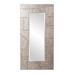 Howard Elliott - Aviator Rectangle Industrial Mirror - This Aviator mirror features a faux metal finish with rivet detail along frame.