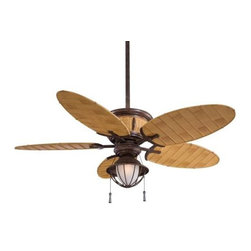 Minka Aire - Minka Aire Shangri-La Ceiling Fan in Vintage Rust w/Black - Minka Aire Shangri-La Model F580-VRBB in Vintage Rust w/Black with ABS Molded Bamboo Finished Blades. Single light wet rated fixture with etched glass.