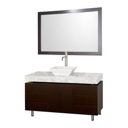 Wyndham Collection - Wyndham Collection Malibu Espresso 48-inch  Single Bathroom Vanity Set - The Malibu Bathroom Vanity is a featured item from the Wyndham Collection Designer Series. The beautiful floating counter and clean lines of this vanity are quite stunning,with the legs appearing to pierce right through the cabinet to the floor.