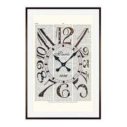 "Zlatka Paneva Framed Print, Vintage Clock, Mat, 28 x 42"", Espresso - These vintage prints cover an eclectic range of subjects, from an old gramophone to a golden olive branch. They are endlessly fascinating to look at, as each one features layers of collage using old book pages as a canvas for full color, and black and white drawings and prints. 11"" wide x 13"" high 16"" wide x 20"" high 28"" wide x 42"" high Alder wood frame. Black or white painted finish; or espresso stained finish. Beveled white mat is archival quality and acid-free. Available with or without a mat."