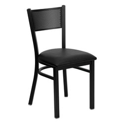 Flash Furniture - Flash Furniture Hercules Series Black Grid Back Metal Restaurant Chair - Provide your customers with the ultimate dining experience by offering great food, service and attractive furnishings. This heavy duty commercial metal chair is ideal for restaurants, hotels, bars, lounges, and in the home. Whether you are setting up a new facility or in need of a upgrade this attractive chair will complement any environment. This metal chair is lightweight and will make it easy to move around. For added comfort this chair is comfortably padded in vinyl upholstery. This easy to clean chair will complement any environment to fill the void in your decor. [XU-DG-60115-GRD-BLKV-GG]
