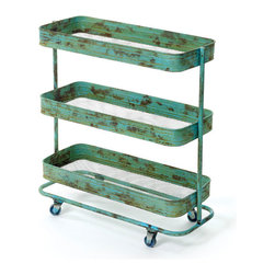 Rolling Rustic Tray Cart - This iron rolling cart's construction and hand-painted antiqued finish take you back to the mid-century when pieces were made with care and built to last. With storage space becoming a modern luxury, this cart is perfect for organizing your toiletries and towels in the bathroom or displaying cookbooks and pans in the kitchen--or roll it the bedroom and display photographs of friends and family while simultaneously keeping what you need nearby.