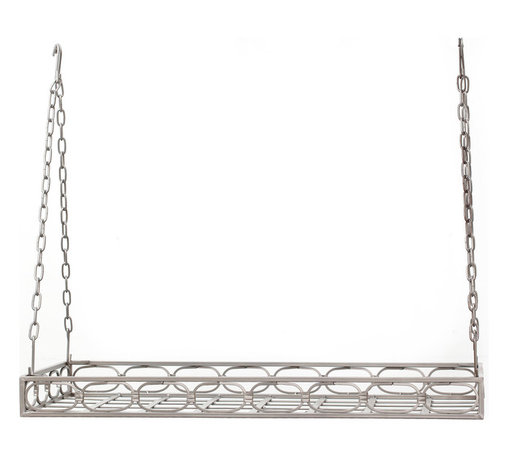 "36"" x 17¾"" x 3¾"" Antique Pewter Rectangular Pot Rack,16 Hooks - Antique Pewter Rectangular Hanging Pot Rack. Get your cookware up, out of the way and on display!  Includes 16 hooks, hanging chains and mounting hardware. Study Steel construction with a hand-applied Antique finish.  36""Lx 17¾""W x 3¼""H."