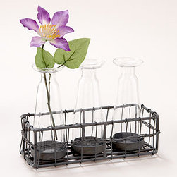 Three Bud Vases with Wire Caddy - Here's a simple way to spruce up any room for spring. Just add fresh flowers from your own yard or the farmers' market.