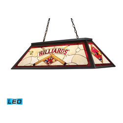 Elk Lighting - Elk Lighting Tiffany Lighting/Billiard/Island Billiard/Island with Tiffany Bronz - The Stained Glass Billiard Collection Takes Its Cues From The Game, Sporting Colorful, DetaiLED Illustrations And Classic Victorian Themes. Use Over A Pool Table Or Kitchen Island For Optimal Illumination. - LED, 800 Lumens (3200 Lumens Total) With Full Scale Dimming Range, 60 Watt (240 Watt Total)Equivalent , 120V Replaceable LED Bulb Included