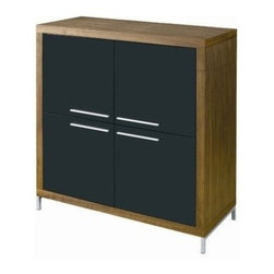 Nuevoliving - Nuevoliving Silva Cabinet - Walnut - HGSD280 Finish: Walnut Features: -Stainless steel frame.-Walnut veneer.-Black lacquer doors. Construction: -MDF construction. Dimensions: -Overall dimensions: 45.5'' H x 42.25'' W x 19'' D. Collection: -Silva collection.