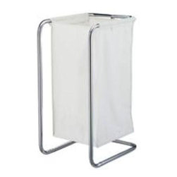 "Homebasix - Chrome Laundry Sorter W/Bag - White canvas laundry bag and chrome mirror polished frame. Size: 28-1/2"" x 14-1/2"" x 16-1/2"".            Finish=Chrome"