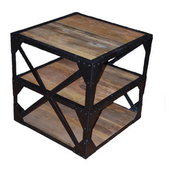 SeventhStaRetail - Industrial Reclaimed Side Table - Industrial Reclaimed Side Table