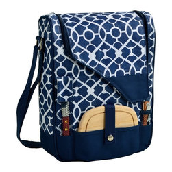Picnic at Ascot - Picnic at Ascot Pinot Wine and Cheese Cooler for 2 - 434-TB - Shop for Tables from Hayneedle.com! Pack your picnic essentials in one lightweight package with the Picnic at Ascot Pinot Wine and Cheese Cooler for 2. This handsome tote bag comes outfitted with a number of wine accessories each secured by straps or mesh netting including: two clear acrylic wine glasses two matching napkins a bottle stopper a combination corkscrew a cheese knife and a wooden cutting board. The main compartment can hold two standard-sized wine bottles at once or up to three if the wine glasses are removed. Thermal Shield insulation makes sure the interior doesn't get too warm. Durable 600D polycanvas is used to create the piece available in your choice of either trellis blue or trellis green color (color options subject to availability).About Picnic at AscotDay or evening beachside or backyard picnics are a favorite event. By introducing Americans to the British tradition of upmarket picnics over a decade ago Picnic at Ascot created a niche for picnic products combining British sophistication with an American fervor for excitement and exploration. Known as an industry leader in the outdoor gift market Picnic at Ascot houses a design staff dedicated to preserving the prized designs and premium craftsmanship signature to the company. Their exclusive products are carried only by selective merchants. Picnic at Ascot provides quality products that meet the demands of today yet reflect classic picnic style.