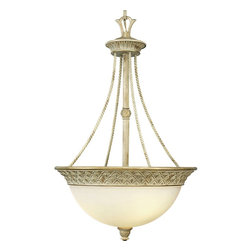 Progress Lighting - Progress Lighting Savannah Traditional Inverted Pendant Light X-24-2453P - This elegant Traditional Inverted Pendant Light by Progress Lighting will bring a rich and majestic look to any foyer. This three-light fixture is adorned with remarkable twisted rope and pineapple patterned details. An Antique Alabaster Shade and Seabrook Finish complete the look.