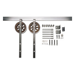Nw Artisan Hardware - Artisan Strap Barn Door Hardware, Brushed, 5 ft - Our Artisan Sliding Barn Door Hardware kit offers looks very similar to our Artisan Top Mount Door Hardware Kit, except this kit features hardware with added straps that extend down on top of the door.
