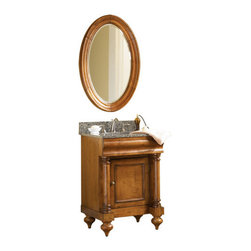 "Kaco - Small Distressed Vanity Mirror - The Guild Hall Bath Mirror is a classic Kaco oval design featuring select hardwood construction. The finish is lightly distressed Pecan, beautifully executed by . The Guild Hall style mirrors make an elegant statement in any bath. Matching Vanities and coordinated granite vanity tops are available. Features: -Guild Hall collection. -Smaller mirror to match 24"" or 30"" vanity. -High quality 1"" beveled mirror. -Multi-step furniture quality, water resistant Sherwin Williams Finish. -Solid hardwood construction and finished plywood back. -The Guild Hall mirror incorporates the classic design of the matching vanity. -Excellent for the bath, this mirror would make a statement in any room of the house. -Matching vanities available. -1"" Beveled glass mirror. Specifications: -Manufacturer provides one year warranty. -Overall dimensions: 38"" H x 25"" W x 2"" D."