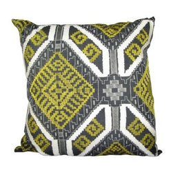 Design Accents Ethnic Flower Applique Pillow - Black / Green - Bold color in a bold pattern, the Design Accents Ethnic Flower Applique Pillow - Black / Green is no wallflower. Made of high-quality cotton, this contemporary square pillow has an ethnic appeal. The hand-embroidered and ultra stylized floral shake the notion of traditional design to the core. Pretty up any room with this beauty.